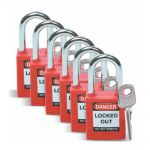 Pack of 6 RED Padlocks