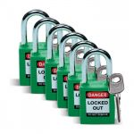 Pack of 6 GREEN Padlocks
