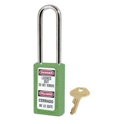 Green 411 Padlock Keyed to Differ with Long Shackle