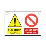 """Caution   Do not start"" Sign 150 x 225mm"