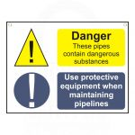 """2 Message Sign  Danger… & Use  protective equipment"" Sign 450 x 600mm"