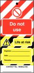 Do Not Use Hi Vis Lockout Tag
