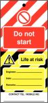 Do Not Start Hi Vis Lockout Tag