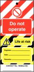 Do Not Operate Hi Vis Lockout Tag