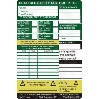 Scaffold Safety Tag Inserts